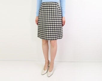 VINTAGE 1960s Mod Plaid Skirt Wool Short