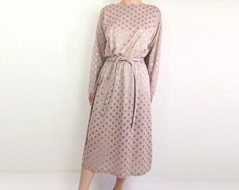 VINTAGE Polka Dot Dress Mauve 1980s