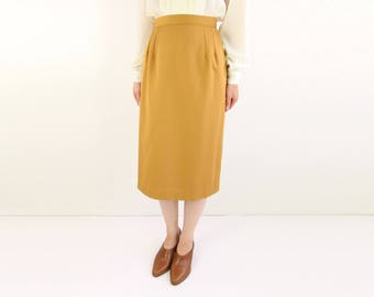 VINTAGE Mustard Skirt Pencil Skirt Mid Length 1980s