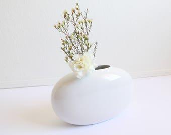 VINTAGE White Vase Oval Modern Porcelain