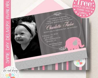 Pink Elephant Invitation, Elephant Birthday Invitation, Elephant Party, Girl First Birthday, Girl Birthday, Elephant Invite, Photo Invite