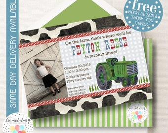 Vintage Tractor Invitation, Tractor Birthday Invitation, Tractor Party, Boy First Birthday, Boy Birthday, Printable Tractor Photo Invite