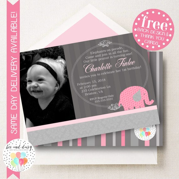 Pink Elephant Invitation For Girls Birthday Party Printable Invite Kids First Invitations Photo Invites BeeAndDaisy