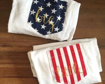 New American Flag Stars & Stripe Gold Ink Pocket Tee T-shirt Set of 2 // Big Little Shirts // S-2XL