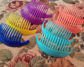 Vintage Lot of 8 Combs Blue Purple Aqua Pale Orange and Yellow Goody