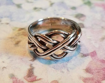 Vintage Sterling Silver Celtic Keltic Knot Ring 1990s 925 Women Irish Wiccan Pagan Size 5.75