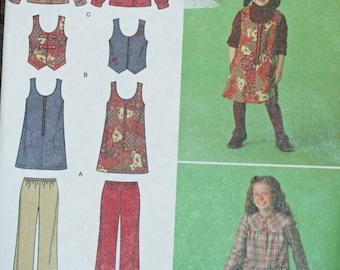 Girls Toddler Kids Size 3 4 5 6 Simplicity 2484 Wardrobe Jacket Vest Jumper Dress Pants Slacks  Child Sewing Pattern Sew Uncut