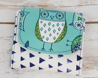 Mini Slimline Wallet - Owls - Triangles - Spots - Blue Watercolor