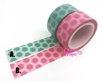 Washi Tape Hexagon 2 ROLLS WT663 (1xpink, 1xmint)