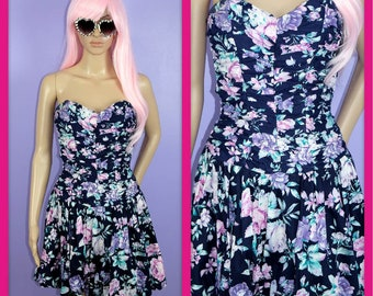 Vintage 1980s Sweetheart Pastel Floral Party Dress