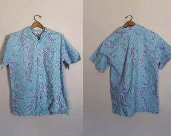 Mens Vintage Hawaiian Shirt / Vintage Hawaiian Shirt / Vintage Cotton Floral Print Hawaiian Shirt / Hawaiian Shirt / Size Large