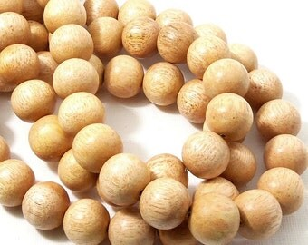 "Meranti Wood Beads, 14mm - 15mm, ""Philippine Mahogany,"" Light, Round, Natural Wood Beads, Smooth, Large, 16 Inch Strand - ID 2171-LT"