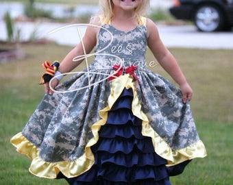 LARGER size listing for girls military camo ruffle dress