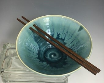 Handmade Pottery Chopstick or Rice Bowl Teal Blue