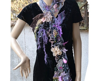 RESERVED Lovely Unique Art to Wear Small Scarf/Boa LAVENDER BUTTERFLY Gipsy Fairy Antoinette Tattered Boho