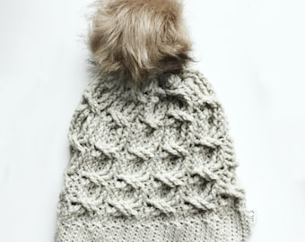 CROCHET PATTERN, The Brinley Crochet Hat Pattern, Crochet Hat Pattern, Crochet Cables, Craft Supply, DIY Hat Pattern