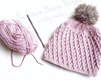 CROCHET PATTERN, The Stevie Crochet Hat Pattern, Crochet Hat Pattern, Crochet Cables, Craft Supply, DIY Hat Pattern