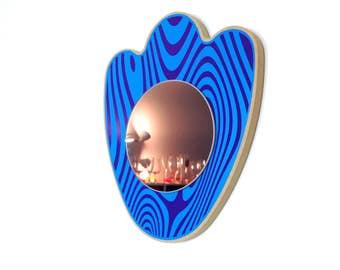 """Miroir déco rigolo """"Deglingo"""" bleu et violet"""