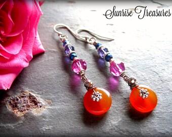 Natural Golden Orange Carnelian Earrings, Stone and Swarovski Crystal Dangle Earrings, Semi Precious Gemstone Jewelry