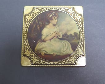 Vintage Thornes Confections Candy Tin  Box Container - Age of Innocence - Picture of young girl