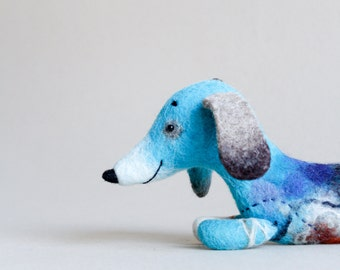 Felt Toy kids gift  Dachshund - Hubert Waldorf Felted dog Art Toy Puppet Dog Plush Marionette Stuffed Toy. blue turquoise.  MADE TO ORDER.