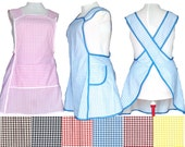 Plus Size Apron, Cross back Apron, Small Checks Choice of Colors - Made to Order sizes XL, 2X, 3X, 4X, 5X