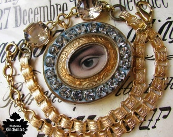 Madonna Enchanted necklace mourning lovers eye Victorian adjustable one of a kind open back crystal evil eye jewelry assemblage all seeing