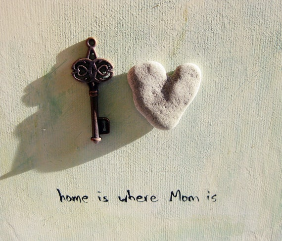 Mother's Day Gift, Home is where mom is, Gift For Family, One of a kind wall decoration, Home frame, Home decoration, home sweet home, heart