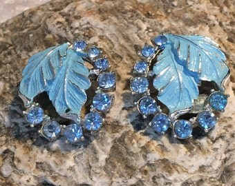 Baby Blue Enamel and Rhinestone clip earrings