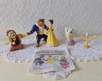 Beauty and the Beast, Complete Four Piece Burger King Fast Food Toy Figure set, 1991 plus a small Lumiere the candelabra.