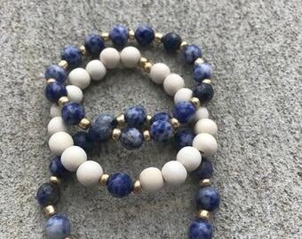Blue Stone Bracelet Stack