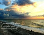 Beach sunset photo with Rumi quote