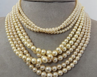 3 Vintage Multi Strand Pearl Choker Necklaces  Lot 3