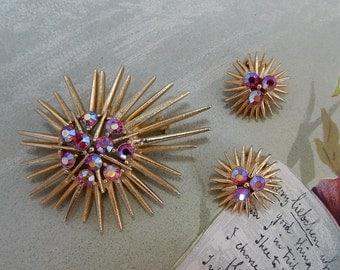 LISNER Signed Gold StarBurst Brooch & Clip On Earrings Set   OV11