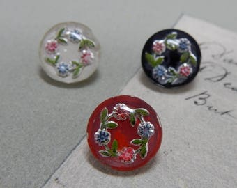 3 Antique Two - Piece Glass Paperweight Flower Buttons