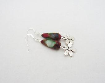 Gemstone Earrings, Multicolour Gemstone Earrings, Drop Earrings, Red and Green Dangle Earrings