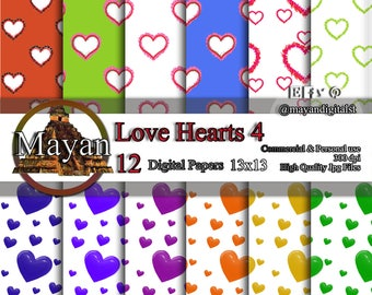 Digital download, digital paper, 12 Digital lovely hearts and colors paper for decorations