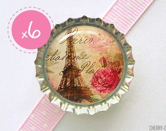 Paris Magnet Favors, 6 Bottle Cap Magnets, paris magnet, paris decor paris theme party, paris baby shower favor, paris eiffel tower birthday