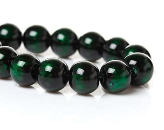 20 pcs Black and Green Pearl Swirl Glass Round Loose Beads - 8mm - Hole Size: 1.5mm