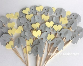 24 elephant cupcake toppers gray and pale yellow - canary color Light yellow Party Picks Baby Shower - Food Picks