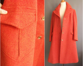 1960s mod orange coat Jimmy Hourihan irish wool tweed xl fitted coat fit and flare coat orange peacoat vintage orange wool coat ireland Boru