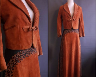 RARE vintage mariachi suit suede cachiruleado suit 1960s mariachi  1950s mariachi jacket soutache jacket and skirt charro western suit
