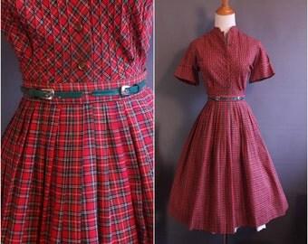 1950s red plaid Betty Barclay dress with original green tabbed belt and mandarin collar 50s plaid dress vintage shirtdress