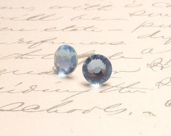 Aqua Blue Swarovski Crystal Post Stud Earrings. Simple Sparkling Earrings.