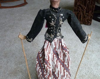 """Indonesian Theater Puppet  Size 25"""" tall from top of head to base. Javanese Wayang Golek doll, Material, wood and batik. Java, Indonesia."""