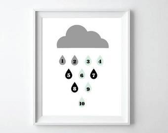 Black and White Nursery Decor, Rain Drop Wall Art, 123 Kids Wall Art, Baby Birthday Gift, Children Room Wall Art