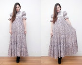 Vintage Laura Ashley Floral Trapeze Smock Full Circle High NeckMaxi Dress 70's RARE