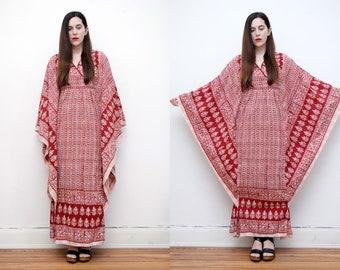 Vintage Indian Cotton Batik Hippie Angel Sleeve Kimono Kaftan Boho Maxi Dress 70's