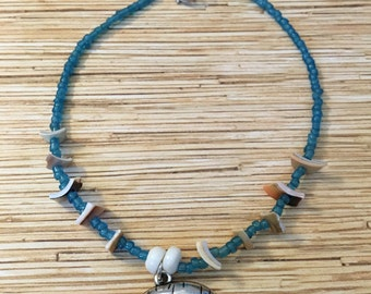 Blue Shell Chip Manatee Anklet