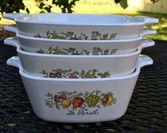 Vintage Four Small Corning Ware Bake Dishes P-43 and P-41 Le Persil Spice of Life